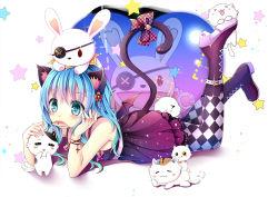 1girl blue_hair cat_ears date_a_live gyaza yoshino_(date_a_live) yoshinon