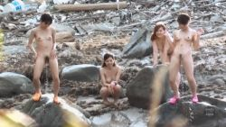 animated animated_gif asian beach breasts multiple_girls nude peeing photo pubic_hair sea