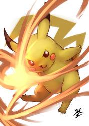 :3 energy_ball no_humans pikachu pokemon pokken_tournament solo sowel_(sk3)