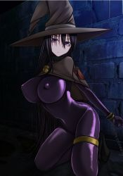 1girl aebafuti black_hair boots breasts cape chains collar erect_nipples hat highres huge_breasts kneeling latex legs long_hair looking_at_viewer prison purple_eyes solo thighs tied_up