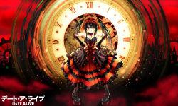 1girl absurdres blush breasts clock copyright_name date_a_live english gears gothic_lolita hands_on_hips heterochromia highres lolita_fashion pigeon-toed solo tokisaki_kurumi