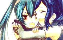 2girls blue_hair cynthia_(fire_emblem) embarrassed eyes_closed fire_emblem fire_emblem:_kakusei gloves hug kisano_(otpr) multiple_girls open_mouth ponytail selena_(fire_emblem)