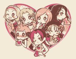 6+girls asatsuki_riya chibi erina_pendleton heart hirose_yasuho jojo_no_kimyou_na_bouken kuujou_jolyne limited_palette multiple_girls plaid plaid_background sugimoto_reimi suzi_quatro yamagishi_yukako