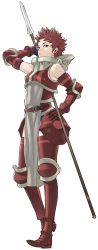 1girl absurdres armor armored_boots bare_shoulders fire_emblem fire_emblem:_kakusei full_body gauntlets highres kozaki_yuusuke lips official_art polearm red_eyes red_hair short_hair simple_background soiree solo spear transparent_background very_short_hair weapon