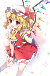 1girl ascot bangs blonde_hair blush center_frills fang flandre_scarlet hat hat_ribbon highres looking_at_viewer mauve miniskirt mob_cap open_mouth red_eyes red_skirt ribbon shiny shiny_hair side_ponytail skirt smile socks solo sparkle standing touhou vest white_legwear wings wrist_cuffs