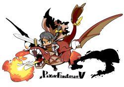 1girl armor braid cape claws dragon fire hair_ribbon horns hounori knight pixiv_fantasia pixiv_fantasia_5 ribbon sword tail torn_cape weapon wings