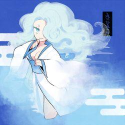 1girl aqua_eyes aqua_hair blue breasts character_name cleavage egasumi enraenra hair_over_one_eye japanese_clothes kimono l_hakase large_breasts long_hair looking_at_viewer smile solo youkai_watch