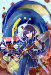 2boys :d ahoge black_hair eelektross honebami_toushirou kantarou_(8kan) male_focus military military_uniform multiple_boys namazuo_toushirou necktie open_mouth pokemon pokemon_(creature) ponytail purple_eyes shovel smile sword touken_ranbu tynamo uniform wakizashi weapon white_hair worktool