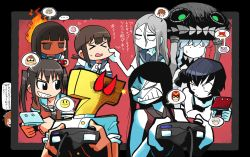 ... 1boy 6+girls ascot black_hair brown_hair captain_falcon cheek_pull clenched_teeth controller crossover donkey_kong donkey_kong_(series) f-zero fire fire_emblem fire_emblem:_kakusei fubuki_(kantai_collection) game_controller gamecube_controller glaring grin hatsuyuki_(kantai_collection) headwear jigglypuff kantai_collection kid_icarus kirby kirby_(series) long_hair multiple_girls my_unit nintendo nintendo_3ds ocarina_of_time pac-man pac-man_(game) pale_skin pit_(kid_icarus) playing_games pokemon ponytail rariatto_(ganguri) ri-class_heavy_cruiser ru-class_battleship sailor_collar school_uniform sendai_(kantai_collection) serafuku shaded_face sheik shinkaisei-kan short_hair silver_hair smile speech_bubble super_smash_bros. sweatdrop t-head_admiral ta-class_battleship the_legend_of_zelda translation_request twintails white_skin wo-class_aircraft_carrier yukikaze_(kantai_collection)