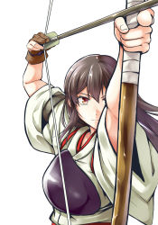 1girl akagi_(kantai_collection) archery arrow bow_(weapon) brown_eyes brown_hair chaigidhiell gloves highres japanese_clothes kantai_collection kyuudou long_hair muneate tasuki weapon yugake
