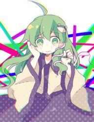1girl ahoge crying daizu_(melon-lemon) detached_sleeves frog frog_hair_ornament green_eyes green_hair hair_ornament kochiya_sanae long_hair snake snake_hair_ornament solo tears touhou