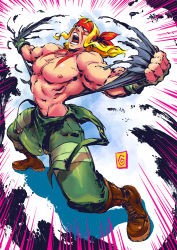 1boy abs alex_(street_fighter) blonde_hair blue_eyes clothes_around_waist combat_boots emphasis_lines facial_tattoo fingerless_gloves gloves headband long_hair male manos_lagouvardos muscle open_mouth overalls shirtless solo street_fighter street_fighter_iii tattoo tearing_clothes torn_clothes