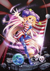 1girl american_flag american_flag_dress american_flag_legwear blonde_hair blush clownpiece commentary_request dress earth fairy_wings fang flag full_body hat jester_cap long_hair looking_at_viewer neck_ruff one_leg_raised open_mouth outstretched_arm pantyhose polka_dot short_dress short_sleeves skull smile solo space standing standing_on_one_leg star star_(sky) star_print striped touhou very_long_hair wings z.o.b