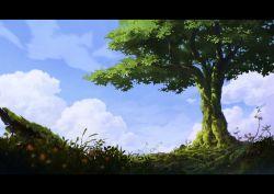 blue_sky cloud flower grass letterboxed miso_pan moss nature no_humans original overgrown rope shide shimenawa shrine sky tree