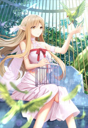 1girl asuna_(sao) asuna_(sao-alo) bird brown_eyes brown_hair cage cloudy.r highres long_hair midriff navel open_mouth pointy_ears sitting smile solo sword_art_online titania_(sao) wings