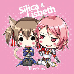 2girls animal_ears blush breastplate brown_hair cat_ears chibi lisbeth lisbeth_(sao-alo) lowres multiple_girls pink_eyes pink_hair short_hair silica silica_(sao-alo) sousouman sword_art_online thighhighs twintails