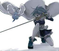 armband blue_eyes blue_hair cape flying gloves hair_ornament hairclip magical_girl mahou_shoujo_madoka_magica mahou_shoujo_madoka_magica_movie miki_sayaka pokemon rita_(56yellow) short_hair soul_gem squatting swablu sword thighhighs weapon wings zettai_ryouiki