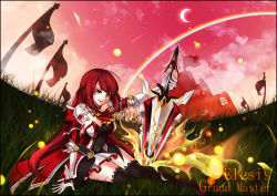 1girl black_legwear detached_sleeves dress elbow_gloves elesis elsword gloves long_hair red_hair skirt smile sword tagme thighhighs weapon