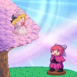 2girls blonde_hair bow cape cherry_trees dress hair_bow hat lily_white long_hair lowres multiple_girls muyue_mitsudou open_mouth pixel_art red_hair sekibanki short_hair skirt smile touhou wings