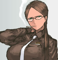 1girl aqua_eyes assault_rifle breasts brown_hair glasses glasses_girl_(nameo) highres large_breasts long_hair low_twintails nameo_(judgemasterkou) original rimless_glasses shirt solo taut_clothes twintails under-rim_glasses