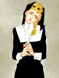 1boy androgynous blonde_hair braid crossdressing giorno_giovanna highres jojo_no_kimyou_na_bouken knife nun okuya00 solo yellow_eyes