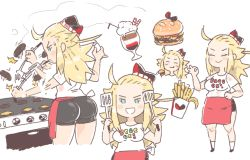 1girl ahoge apron ass bike_shorts blonde_hair bravely_default:_flying_fairy breasts cooking edea_lee employee_uniform fast_food_uniform food hamburger hat inkerton-kun long_hair solo uniform waist_apron