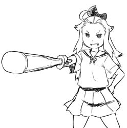 1girl ahoge alternate_costume blonde_hair bow bravely_default:_flying_fairy edea_lee foreshortening hair_bow hand_on_hip long_hair school_uniform serafuku shinai sketch skirt solo sword tsukudani_(coke-buta) weapon