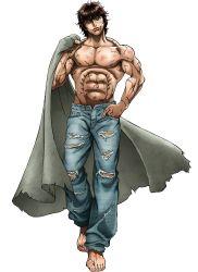 1boy abs brown_hair grappler_baki hanma_baki jeans muscle short_hair smile solo standing white_background