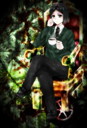 1boy black_hair blood blood_splatter bob_cut chair cup fate/zero fate_(series) gears green_eyes highres necktie sitting solo sweater waver_velvet wawon_(naowaon)