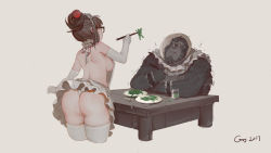 1boy 1girl 2017 alternate_costume apron ass bent_over black-framed_eyewear breasts brown_hair chopsticks cowboy_shot cup dated drinking_glass elbow_gloves enmaided feeding food from_behind gaoerji glasses gloves gorilla hair_bun hair_ornament hair_stick highres holding holding_food large_breasts leaning_forward looking_at_another maid maid_apron maid_headdress mei_(overwatch) miniskirt naked_apron overwatch panties plate short_hair shoulder_blades sideboob signature simple_background sitting skirt standing table thighhighs thong trembling underwear white_background white_gloves white_legwear white_panties winston_(overwatch)