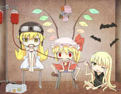 3girls barefoot bat bat_wings blonde_hair blood blood_bag blush_stickers button_eyes chair chibi color_connection crossover doll dress drinking_blood empty_eyes evangeline_a_k_mcdowell fangs flandre_scarlet goggles goggles_on_head hat helmet hidarikata indoors intravenous_drip legs_up long_hair mahou_sensei_negima! mob_cap monogatari_(series) multiple_girls one_eye_closed oshino_shinobu paw_print red_eyes remilia_scarlet short_sleeves side_ponytail sitting skirt skirt_set sleeveless slit_pupils smile stool teruterubouzu touhou trait_connection vampire very_long_hair wings yellow_eyes