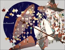1girl bow bubble closed_umbrella commentary_request flower gloves grey_hair hair_bow hat hat_flower hat_ribbon horn kneehighs long_hair looking_at_viewer off_shoulder one_eye_closed oriental_umbrella origami original pixiv_fantasia pixiv_fantasia_t ribbon sandals solo suzuyu_(suzukure_0608) umbrella witch witch_hat yellow_eyes