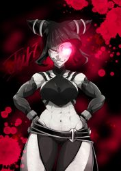 1girl abs bracelet breasts detached_sleeves drill_hair evil_smile glowing glowing_eye halter_top halterneck han_juri jewelry looking_at_viewer marimo_(yousei_ranbu) muscle muscular_female navel sideboob smile solo spiked_bracelet spikes street_fighter street_fighter_iv_(series) twin_drills underboob