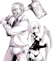 1boy 1girl assassin_of_black axe bare_shoulders beard crossover facial_hair fate/apocrypha fate/grand_order fate_(series) glasses jack_baker looking_at_viewer monochrome namesake navel okamura_(okamura086) panties resident_evil resident_evil_7 scar short_hair underwear weapon white_background