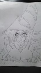 1girl bare_shoulders breasts dark_magician_girl duel_monster female large_breasts long_hair magical_girl masturbation monochrome paizuri penis photo traditional_media witch_hat yu-gi-oh! yuu-gi-ou_duel_monsters