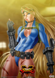 1girl absurdres alternate_costume alternate_hairstyle backpack bag belt_pouch blonde_hair blue_eyes breasts cammy_white choker copyright_name elbow_gloves fingerless_gloves ggg_(gonzalogallianoniz) gloves goggles goggles_on_head hair_down high_collar highleg highleg_leotard highres leotard lips long_hair no_bra nose scar solo street_fighter street_fighter_v thighs unzipped very_long_hair watermark web_address