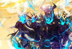 1boy armor fate/grand_order fate_(series) fire glowing glowing_eyes helmet highres horns king_hassan_(fate/grand_order) light_rays looking_at_viewer male_focus mask simple_background skull skull_mask solo sword weapon