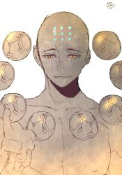 1boy artist_name bald bare_shoulders collarbone facial_mark forehead_mark futo_20 humanization looking_at_viewer male_focus monochrome open_mouth overwatch reaching reaching_out shirtless simple_background solo sphere spot_color upper_body white_background yellow_eyes zenyatta_(overwatch)