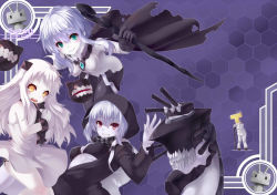 1boy 3girls :3 bare_arms bare_shoulders baton black_bra black_dress black_panties bodysuit bra breasts cannon cape dress green_eyes grin hood horns kantai_collection long_sleeves looking_at_viewer military military_uniform mittens multiple_girls northern_ocean_hime open_clothes open_dress open_mouth oukawa_yuu panties pink_eyes re-class_battleship rensouhou-chan shinkaisei-kan side-tie_panties silver_hair sleeveless sleeveless_dress smile t-head_admiral torn_cape underboob underwear uniform white_dress wo-class_aircraft_carrier yellow_eyes