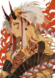 1girl artist_name bell blonde_hair bodypaint demon_girl earrings facial_mark fangs fate/grand_order fate_(series) hair_bell hair_ornament hg0524 hg_(pixiv16108795) ibaraki_douji_(fate/grand_order) jewelry jingle_bell long_hair oni oni_horns pointy_ears profile rope shimenawa simple_background solo upper_body white_background yellow_eyes