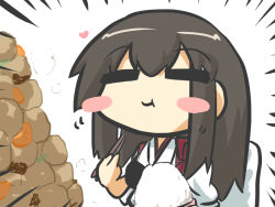 1girl =_= akagi_(kantai_collection) blush_stickers brown_hair commentary_request eating food gomasamune heart japanese_clothes kantai_collection long_hair rice rice_bowl smile solo