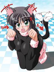 1girl aizawa_sakuya animal_ears blush bodysuit breasts cat_ears cleavage green_eyes hayate_no_gotoku! short_hair silver_hair tail