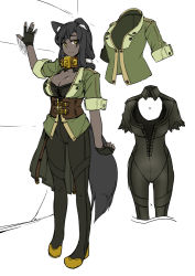 1girl animal_ears black_gloves black_hair black_skin bodysuit breasts cleavage cleavage_cutout dark_skin fingerless_gloves gloves large_breasts long_hair looking_at_viewer monster_girl original pixiv_fantasia pixiv_fantasia_t simple_background sketch smile solo tail tsukinami_kousuke white_background wolf_ears wolf_tail yellow_eyes