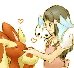 1girl blue_hair character_request feeding heart kosumo_(kosuhoshi) lowres pokemon sketch smile