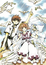 1boy 1girl absurdres animal animal_on_shoulder bird bird_on_hand bird_on_shoulder brown_eyes brown_hair clamp cloud green_eyes highres index_finger_raised sakura_hime see-through short_hair sky tsubasa_chronicle xiaolang