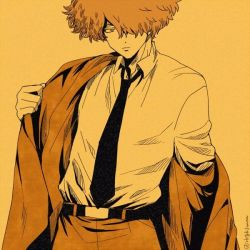 1boy 3mm afro belt cowboy_shot dress_shirt dressing formal gintama hair_over_one_eye male_focus monochrome necktie orange_(color) parody shimaru_saitou shirt solo suit twitter_username