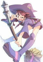 1girl :d ;d akama_zenta bangs bent_over boots broom brown_hair collared_shirt dress eyebrows_visible_through_hair full_body hat kagari_atsuko knee_boots leaning_forward legs little_witch_academia long_sleeves one_eye_closed open_mouth red_eyes round_teeth shirt simple_background smile solo teeth v v_over_eye white_background wide_sleeves witch witch_hat