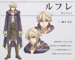 1boy april_fools artist_request bangs belt blonde_hair character_name character_sheet collarbone fire_emblem fire_emblem:_kakusei hood hoodie looking_at_viewer male_focus male_my_unit_(fire_emblem:_kakusei) my_unit_(fire_emblem:_kakusei) parody simple_background smile solo translation_request yellow_eyes