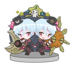 beppu_akihiko beppu_haruhiko binan_koukou_chikyuu_bouei-bu_love! blue_hair brothers crossover highres jirachi lunatone male_focus pink_eyes pokemon pokemon_(creature) red_eyes siblings solrock twins