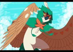 artist_name decidueye feathered_wings feathers hood leaf no_humans orcusporcus pokemon pokemon_(creature) pokemon_(game) pokemon_sm sky solo watermark web_address wings yellow_eyes